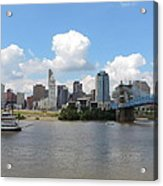 Cincinnati Skyline With A Boat Acrylic Print
