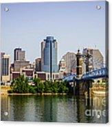 Cincinnati Skyline With Roebling Bridge Acrylic Print