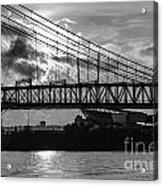 Cincinnati Suspension Bridge Black And White Acrylic Print by Mary Carol Story