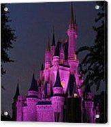 Cinderella Castle Illuminated In Pink Glow Acrylic Print