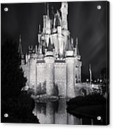 Cinderella's Castle Reflection Black And White Acrylic Print