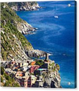Cinque Terre Towns On The Cliffs Acrylic Print by George Oze