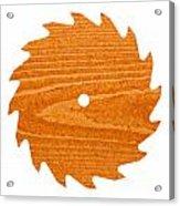 Circular Saw Blade With Pine Wood Texture Acrylic Print by Stephan Pietzko