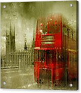 City-art London Red Buses Acrylic Print by Melanie Viola