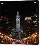 City Hall At Night Acrylic Print by Jennifer Ancker