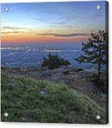 City Lights From Sunrise Point At Mt. Nebo - Arkansas Acrylic Print