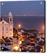 City Of Lisbon In Portugal At Night Acrylic Print