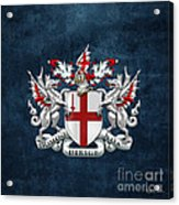 City Of London - Coat Of Arms Over Blue Leather  Acrylic Print