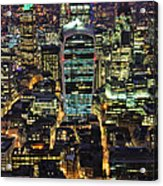 City Of London Skyline At Night Acrylic Print