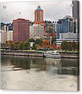 City Of Portland Oregon In The Fall Panorama Acrylic Print
