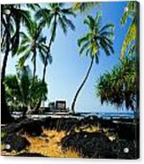 City Of Refuge - A View Of A Hawaiian Traditional House  Acrylic Print