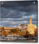 City Of Seville At Sunset Acrylic Print