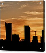 City Of Warsaw Skyline Silhouette Acrylic Print
