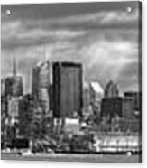 City - Skyline - Hoboken Nj - The Ever Changing Skyline - Bw Acrylic Print by Mike Savad