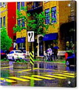 City Street Relections In The Rain Quebec Art Colors And Seasons Montreal Scenes Carole Spandau Acrylic Print