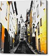 City Street Scene Black And Yellow Photograph Acrylic Print