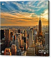 City Sunset New York City Usa Acrylic Print by Sabine Jacobs
