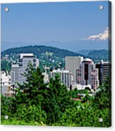 City With Mt. Hood In The Background Acrylic Print