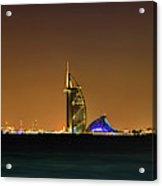 Cityscape At Night, Burj Al Arab Hotel Acrylic Print