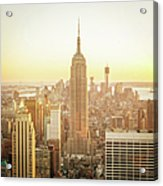 Cityscape Manhattan Sunset New York Acrylic Print