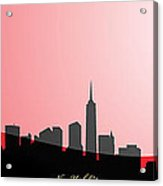 Cityscapes- New York City Skyline In Black On Red Acrylic Print