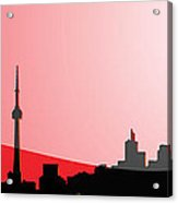 Cityscapes - Toronto Skyline In Black On Red Acrylic Print
