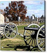 Civil War Cannons At Gettysburg National Battlefield Acrylic Print by Brendan Reals