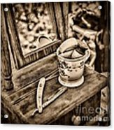 Civil War Shaving Mug And Razor Black And White Acrylic Print