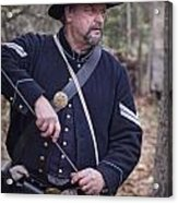 Civil War Union Soldier Reenactor Loading Musket Acrylic Print