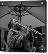 Clarinet Player In New Orleans Acrylic Print by David Morefield