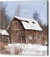 Classic Barn In Snow Acrylic Print