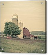 Classic Farm With Red Barn And Silos Acrylic Print