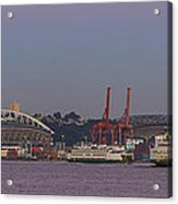 Classic Full Moon And Ferries Panorama Acrylic Print
