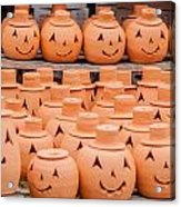 Clay Pumpkins Standing Happy Near The Wood Fence Acrylic Print