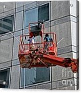 Cleaning Skyscraper Window And Wall With Snorkel Singapore Acrylic Print