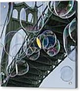 Cleaning The Bridge With Bubbles Acrylic Print