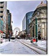 Clearing The Way...downtown Buffalo Ny 2014 Acrylic Print
