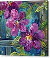 Clematis Turquoise Garden Acrylic Print