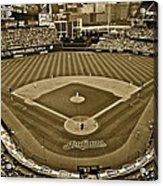 Cleveland Baseball In Sepia Acrylic Print