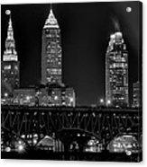 Cleveland Black And White Night Acrylic Print