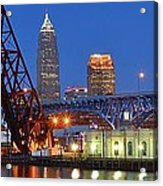 Cleveland Blue Hour Panoramic Acrylic Print