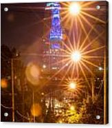 Cleveland Downtown Street View At Night Acrylic Print