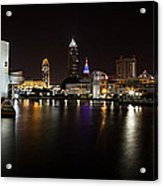 Cleveland Lakefront Nightscape Acrylic Print