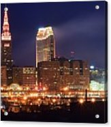 Cleveland Panoramic Night Acrylic Print