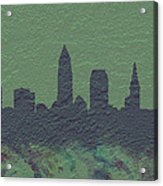Cleveland Skyline Brick Wall Mural Acrylic Print