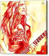 Cliff Burton Playing Bass Guitar Portrait.1 Acrylic Print