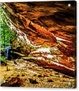 Cliff Rocks And Waterfall Acrylic Print