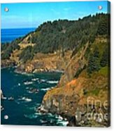 Cliffs At Cape Foulweather Acrylic Print by Adam Jewell
