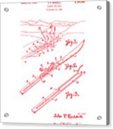 Climber For Skis 1939 Russell Patent Art Red On White Acrylic Print