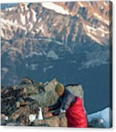 Climber Lights His Ultralight Stove Acrylic Print